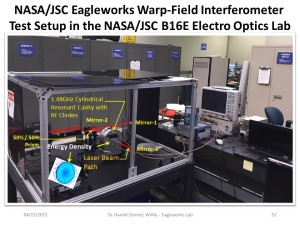 2015 NASA-JSC Eagleworks Warp-field Interferometer Test Set Up